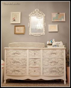 I need to find or make a dresser like this! This woman spray painted silver over lace to get the shaby chic effect!