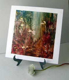 Original Encaustic Abstract Fantasy Scene painted by StudioSabine, $49.00