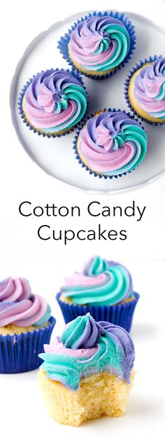 Easy Cotton Candy Cupcakes perfect for a #party | Sweetest Menu