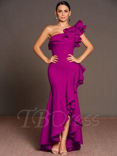 Purple Falbala One Shoulder Women's Maxi Dress Dressy Dresses, Dressy Outfits, Elegant Dresses, Beautiful Dresses, Maxi Dresses, Latest African Fashion Dresses, Wedding Dress Accessories, Gowns Of Elegance, Classy Dress