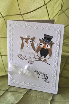 Owl punch wedding card - Craft ~ Your ~ Home Wedding Shower Cards, Wedding Cards, Wedding Invitations, Wedding Gifts, Owl Wedding, Invitations Online, Sister Wedding, Wedding Dress, Owl Punch Cards
