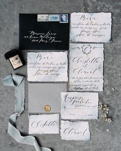 """138 Likes, 8 Comments - Chic Vintage Brides (@chicvintagebrides) on Instagram: """"Such a perfect stationery suite from @seniman_calligraphy for this beautifully moody and romantic…"""""""