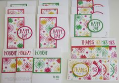 Wednesday Wonder - July 2016 Create 20 cards using one sheet of DSP and the Perfectly Wrapped stamp set. Free downloadable template available from my website.
