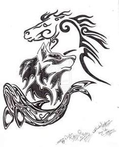 Horse dolphin and wolf celtic/ tribal tatoo.....all my favorite animals!!