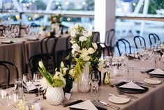 Real Wedding – Sonia & Michael - Tablescape - Table Settings - Greenery with White Florals - Black & White Styling