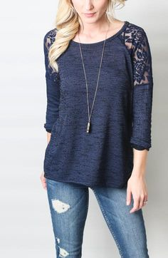 And it looks sooo soft. - Lara Honey Punch Lace Inset Raglan from Stitchfix Stitch Fix Stylist, Girl Fashion, Womens Fashion, Lace Inset, Personalized T Shirts, Contemporary Fashion, Casual Tops, Casual Shirt, Sewing Clothes