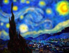 """starry night"" by van gogh / tilt-shifted version of v.g.'s work. love the extra depth added to the piece. more examples when you follow the pin."