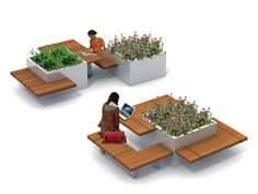 Wooden picnic table with integrated benches MEET