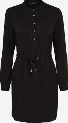 Kleid mit langen Ärmeln Detailliertes - Schwarz