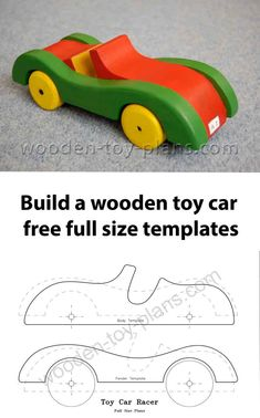 Thanks to Brian Cordon for the photo of the wooden toy racing car. Make yourself with these scroll saw patterns including step by step building guide, photos and full size templates. Free download. #wooden toy plans #toys for boys