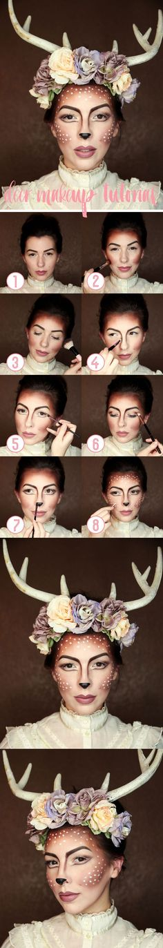 Easy Deer Halloween Make Up Tutorial - www.adizzydaisy.com