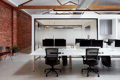 Warehouse in Australia Transformed into Minimalist Design Studio – Home Architect Polished Concrete Flooring, Red Brick Walls, Workspace Design, Industrial Shelving, Architect House, Home Studio, Design Firms, Minimalist Design, Contemporary Design