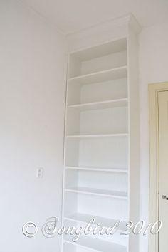 { DIY } ikea billy hack: built-in shelf Ikea Billy Bookcase, Built In Bookcase, Bookshelves, Ikea Shelves, Billy Hack, Home Office, Office Decor, Closet Built Ins, Armoire