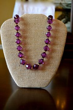 Vintage Purple Beaded Necklace  Costume by MKsVintageHomeFinds, $6.99