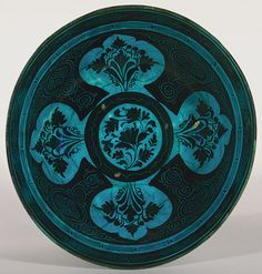 Timurid period (1370–1507), second half of the 15th century  Iran, probably Tabriz  Stonepaste; painted in black under turquoise glaze, incised (Kubachi ware)