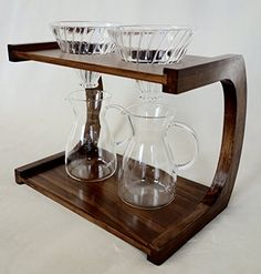 Bamboo Pour Over Coffee Stand for Use with V60 Dripper (Double)