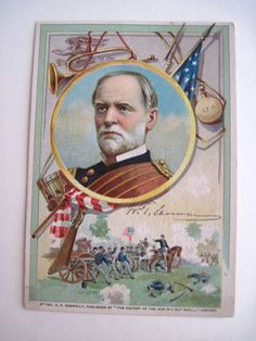 """Victorian Trade Card of General Sherman & Civil War. The ad on the back of the card is for a Magnetic Belt that will help a Lame Back & Kidneys Diseases  The front """"By Col. A.P. Connolly, publisher of 'The history of the War in a Nutshell,' Chicago."""" During the Victorian era, collecting small, illustrated advertising cards(trade cards) was popular These cards evolved from cards of the late 1700s used by tradesmen to advertise their services; color lithography in the 1870s increased their use"""