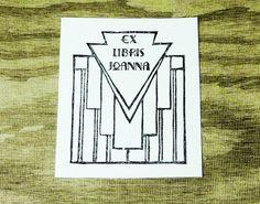 Art deco ex libris stamp, custom ex libris bookplate, hand carved art deco stamp ex libris, custom stamp