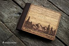 Wooden Wallet, Personalized Leather Wallets, Wood wallet, Mens wallet, Womens gift, Mens gift