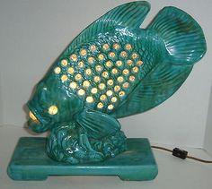 Vintage Ceramic Fish Lamp Statue Marbles | eBay