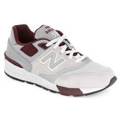 New Balance '597' Sneaker (€80) ❤ liked on Polyvore featuring men's fashion, men's shoes, men's sneakers, grey, mens sneakers, mens grey shoes, mens shoes, new balance mens sneakers and mens leather lace up shoes