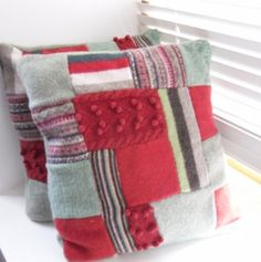 Recycled Cushion Throw pillow patchwork Green / Red hand sewn felted cover made contemporary-decorative-pillows