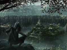 ruins, CGI, fantasy art