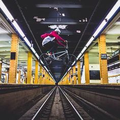 #Biker flying in #NYC subway (Do not try this at home!) #eatKeenwa #FuelYourGreatness