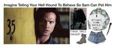 """""""Imagine Telling Your Hell Hound To Behave So Sam Can Pet Him"""" by alyssaclair-winchester ❤ liked on Polyvore featuring J.Crew, Rocket Dog, imagine, supernatural and samwinchester"""
