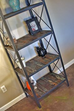 Industrial/rustic bookcase shelving unit by leecowen on Etsy, $1000 #wood_and_metal_bookcase