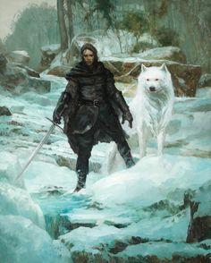 Jon Snow é o filho bastardo de Lorde Eddard Stark com uma mãe cuja identidade não é conhecida. Jon foi criado por seu pai ao lado dos seus meio-irmãos Robb, Sansa, Arya, Bran e Rickon Stark, mas juntou-se à Patrulha da Noite quando atingiu a idade adulta. É constantemente acompanhado por seu lobo albino Fantasma.