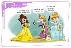 "Disney's ""Pocket Princesses"" (A Funny Comic by Amy Mebberson) Disney Pixar, Disney Fan Art, Disney Fun, Disney Girls, Disney Magic, Disney Princes, Disney Stuff, Pocket Princesses, Pocket Princess Comics"