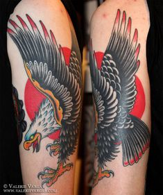 American Traditional Eagle Tattoo On Arm - Tattoo Ideas Eagle Tattoo Arm, Bald Eagle Tattoos, Biker Tattoos, Arm Tattoo, New Tattoos, Sleeve Tattoos, Tatoos, Traditional Tattoo Eagle And Snake, Neo Traditional Tattoo