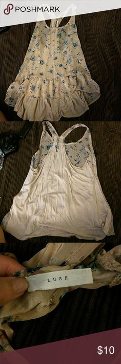 Sheer floral tank Super cute, worn once. Sheer in front, not in back , light tan or cream color. Will fit small-large depending on if you want it tighter or looser Lush Tops Tank Tops