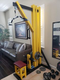 Lat pulldown machine I built to stay fit while in quarantine. Been using it for more than a month and it has been very stable and smooth. No problem with a 100 lb load. Home Made Gym, Diy Home Gym, Gym Room At Home, Homemade Gym Equipment, Diy Gym Equipment, No Equipment Workout, Fitness Equipment, Lat Pulldown Machine, Backyard Gym