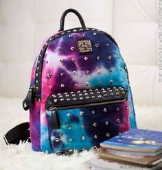 Retro Rivet Galaxy Backpack School Bags #backpack #fashion #college #rivet #school #galaxy