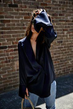 Michael Lo Sord | Navy silk shirt | Denim | style | outfit | HarperandHarley