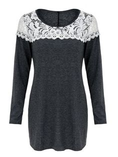 GET $50 NOW   Join RoseGal: Get YOUR $50 NOW!http://www.rosegal.com/t-shirts/casual-scoop-neck-lace-patchwork-long-sleeves-t-shirt-for-women-498569.html?seid=6335631rg498569