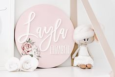 Gorgeous Name Plaque from Faith Laine - perfect persoanlised piece for a nursery or baby shower gift Nursery Name, Girl Nursery, Nursery Decor, Personalised Signs, Diy Bebe, Childs Bedroom, Name Plaques, Baby Girl Names, Card Tags