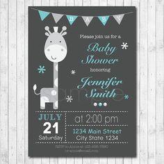 Giraffe Baby Shower Invitation Card Blue Grey by funkymushrooms