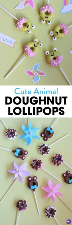 Cute Animal Donut Lollipops - These mini doughnuts are possibly too cute to eat and so much fun to make. Perfect to make with the kids, get everyone dipping and decorating these tasty bite sized treats. After all, everyone loves doughnuts! Especially candy covered ones.