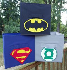 Superhero Cube Storage Bins  Your choice of color and logo