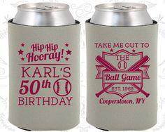 50th Birthday, 50th Birthday Party, Baseball Birthday Party, Hip Hip Hooray, Birthday Can Coolers, Birthday Coolies (20252)