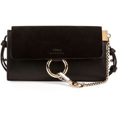 Chloe Faye Suede/Leather Wallet-on-a-Strap (17.744.385 VND) ❤ liked on Polyvore featuring bags, handbags, shoulder bags, black, handbags crossbody bags, cross-body handbag, leather handbags, leather crossbody purses, handbags crossbody and leather hand bags