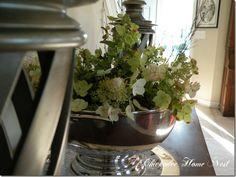 Furniture Rearranging, sterling silver punch bowl and hydrangeas at chickadeehomenest.blogspot.com
