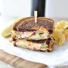 Turkey, Green Tomato and Smoked Cheddar Grilled Cheese + Chipotle Honey Mayo l www.SimplyScratch.com #grilledcheesemonth