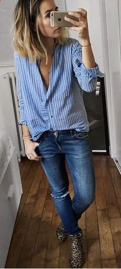 7b3ac76dd9562e Blue button down stripe shirt blue denim jeans leopard print boots