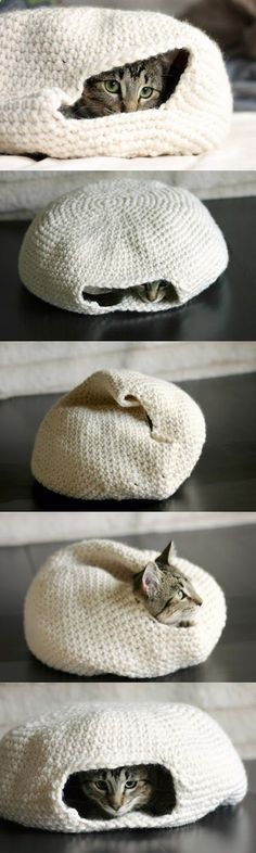 Handmade crochet cat bed.