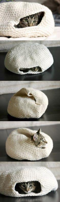 Handmade crochet cat bed.
