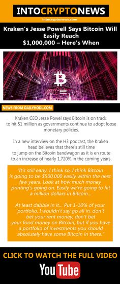 #Kraken CEO Jesse Powel says #Bitcoin is on track to hit $1 million as governments continue to adopt loose monetary policies. Monetary Policy, Cryptocurrency News, Kraken, Adoption, Believe, Track, Sayings, Foster Care Adoption, Runway